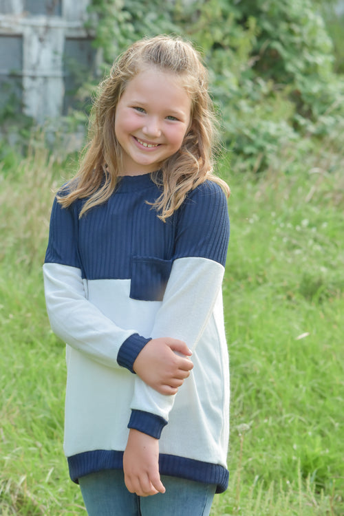 Girls Navy & Ivory Colorblock Sweater