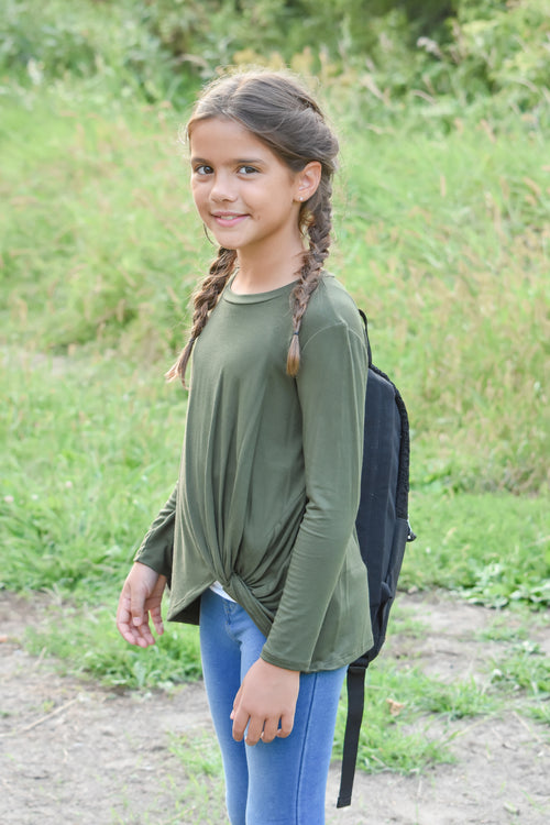 Girls Olive Knot Top