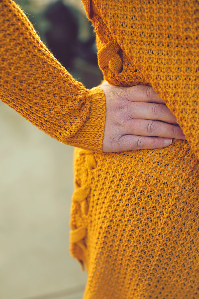 Plus Mustard Braided Side Cardigan