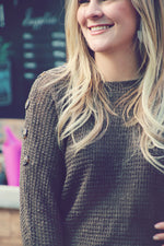 Olive Dolman Button Sleeve Sweater