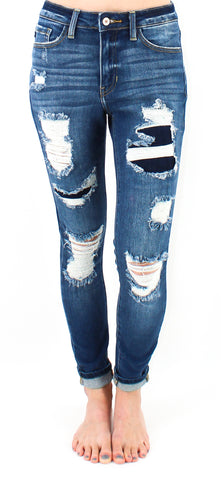 Kancan Ella Medium Wash Distressed Denim