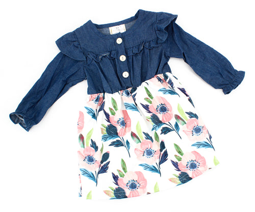 Girls Denim Floral Dress