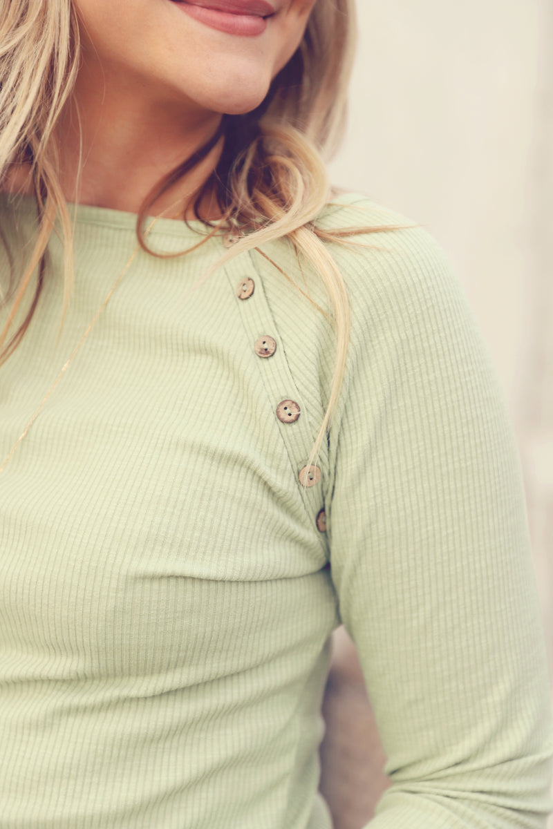 Sage Ribbed Button Detail Top