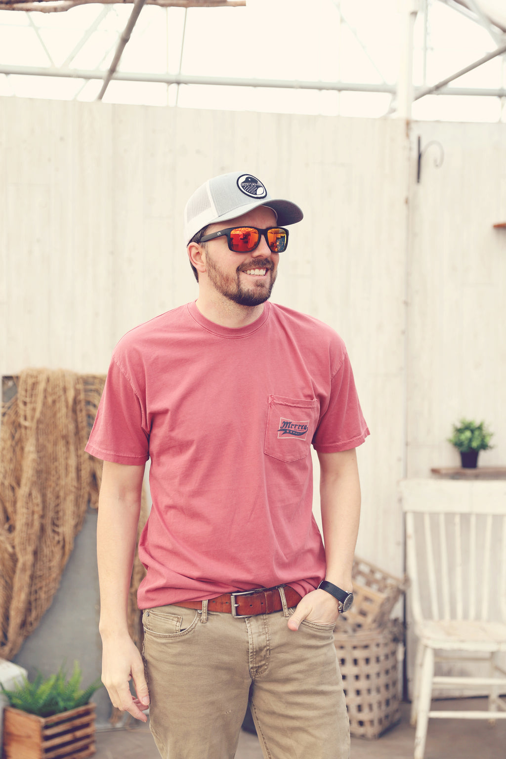 Jetty Salmon Mrrca Pocket Tee
