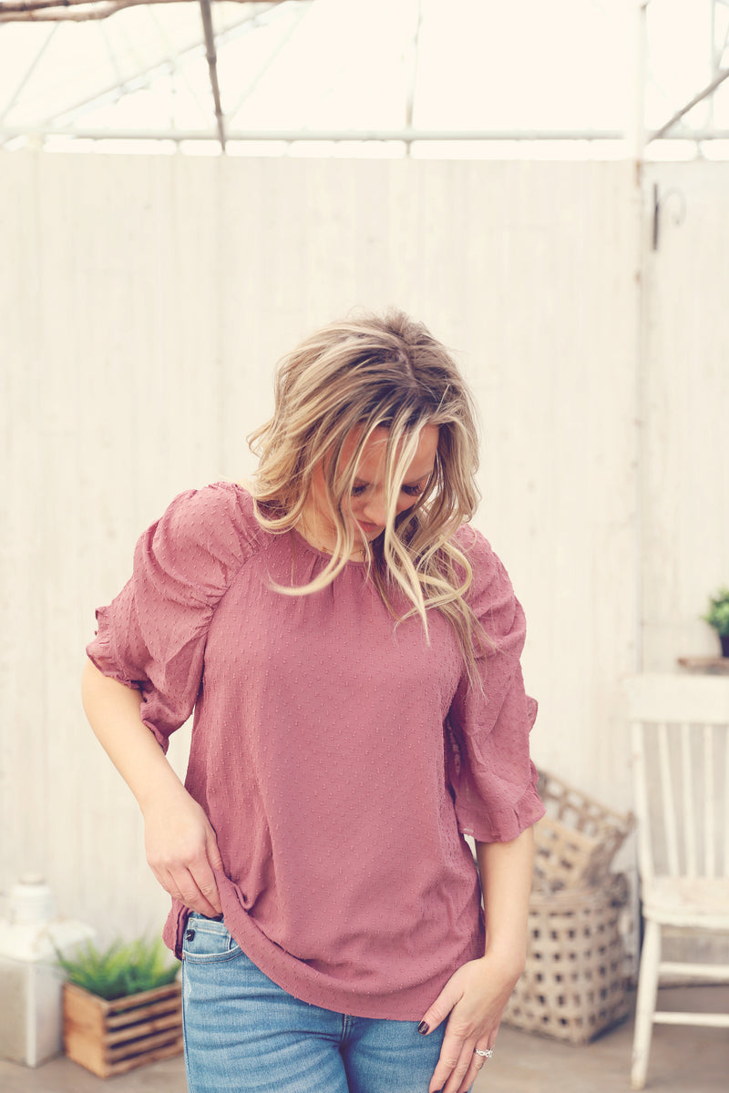 Mauve Swiss Dot Ruffle Sleeve