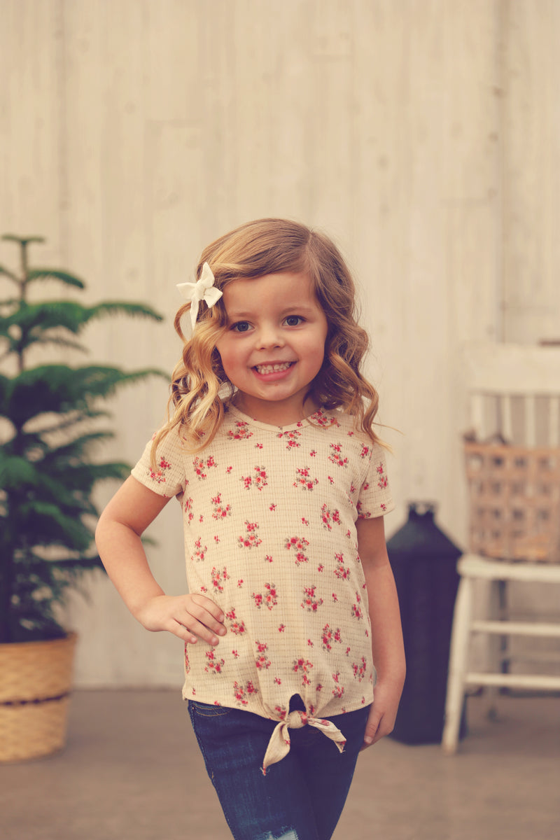 Girls Floral Short Sleeve Tie Top