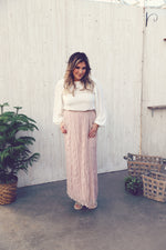 MIKA Pale Rose Swiss Dot Maxi Skirt