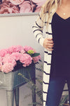 White & Black Long Sleeve Cardigan