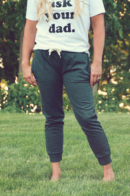 Charcoal French Terry Capri Jogger