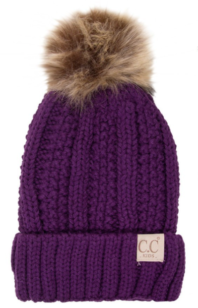 KIDS CC Pom Pom Fleece Lined Hat