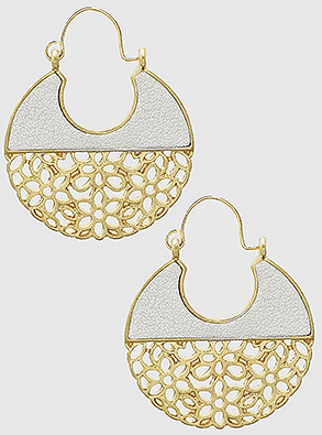 Gold with White Metal Geo Earring
