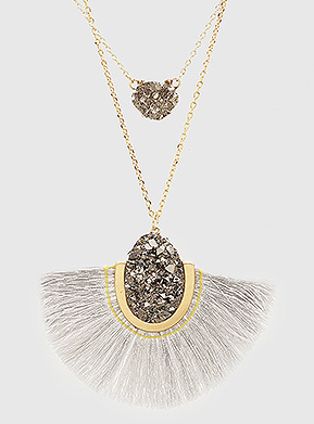 Grey Tassel Stone Layered Necklace