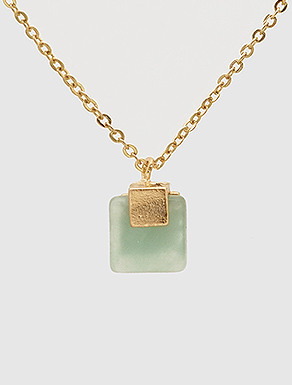 Jade Square Stone Necklace