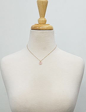Pink Square Stone Necklace
