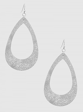 Silver Crushed Leather Earring