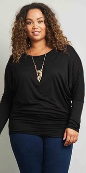 PLUS Black Dolman Top