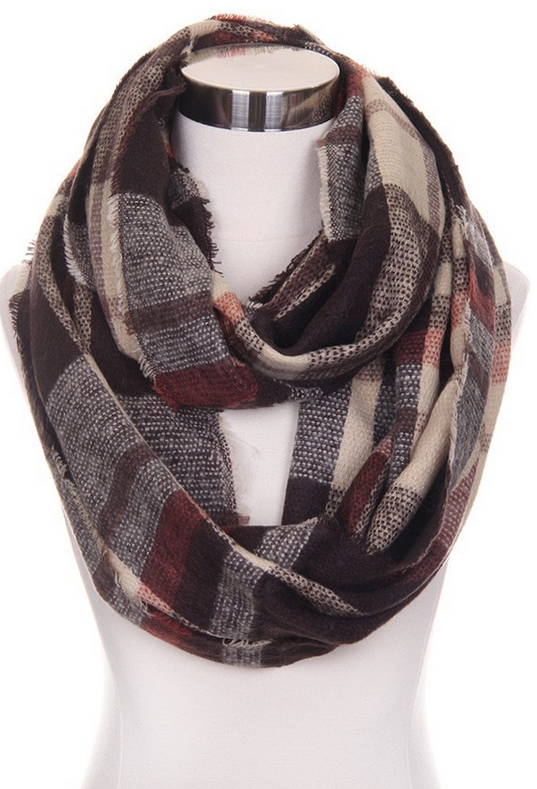 Brown Plaid Infinity Scarf