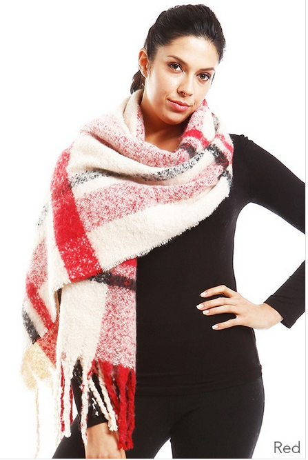 Red/Ivory Plaid Fringe Scarf