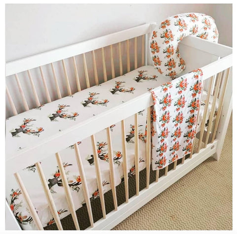 handmade boho baby bedding floral antler unique style for nursery