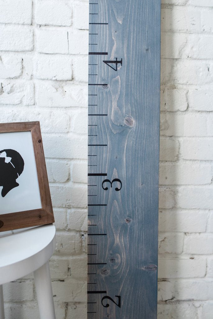 Wooden Growth Chart Weathered Grey White Loft