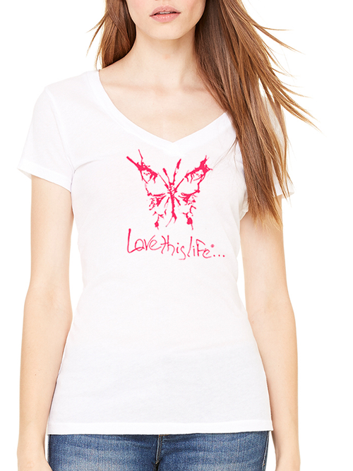 Love This Life Butterfly Silhouette Manifesto Tissue V-Neck S/S In White - lovethislifeshop.net - #lovethislife