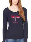 Love This Life Dragonfly Sheer Mini-Rib L/S V-Neck In Midnight Navy - lovethislifeshop.net