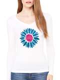 Love This Life LoveDaisy Sheer Mini-Rib L/S V-Neck In White - lovethislifeshop.net