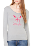Love This Life Butterfly Silhouette Sheer Mini-Rib L/S V-Neck In Granite
