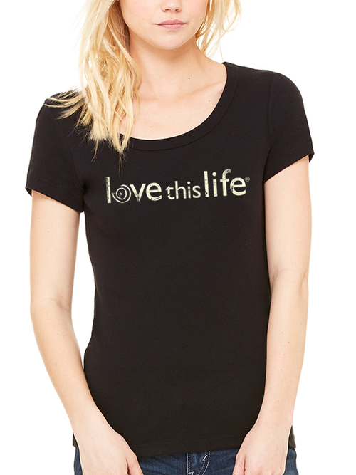 Love This Life Brand Manifesto Slim Scoop Neck Tee In Black - lovethislifeshop.net