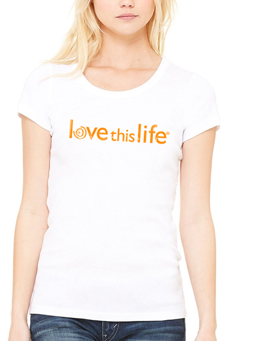 Love This Life Brand Manifesto Slim Scoop Neck Tee In White