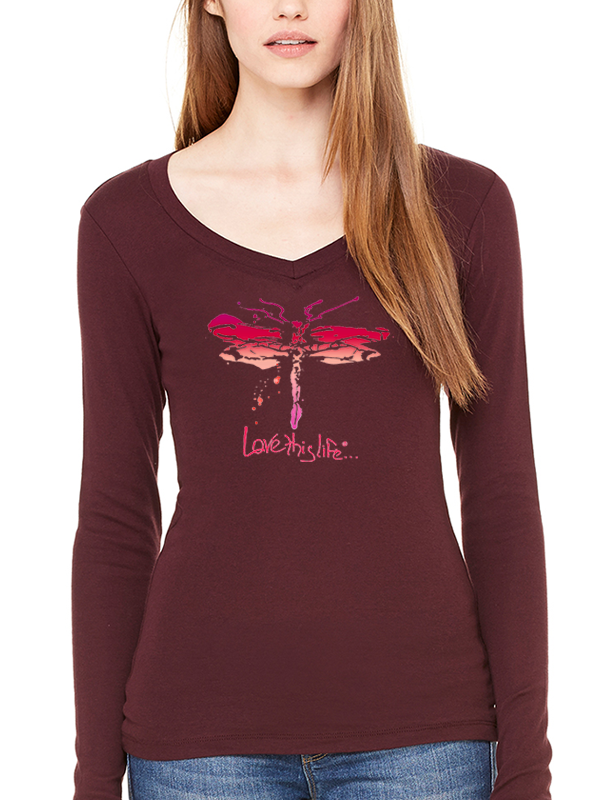 Love This Life Dragonfly Sheer Mini-Rib L/S V-Neck In Plum