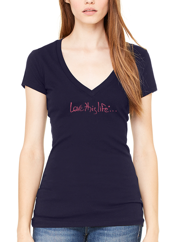 Love This Life Signature Manifesto Tissue V-Neck S/S In Midnight Navy