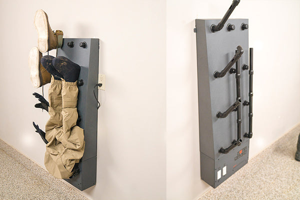 Wall mount GearDryer set up to dry waders and wading boots