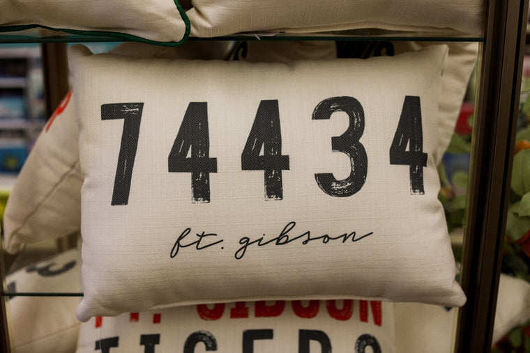 Ft. Gibson Zip Code Pillow