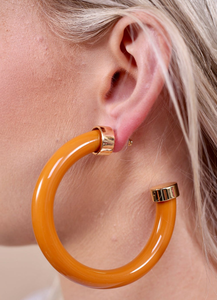 Tailgate Time Thick Acrylic Hoop Earring With Metal Cap