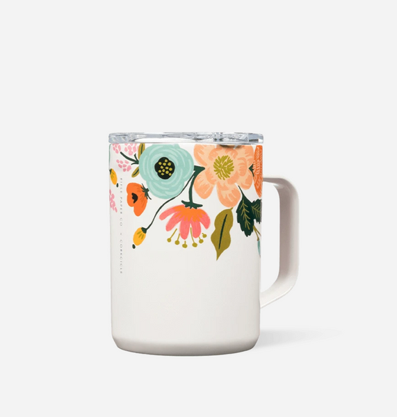 Rifle Paper Gloss Cream Lively Floral Mug, Tumbler