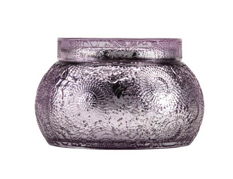 Chawan Bowl 2 Wick Embossed Glass Candle by Voluspa