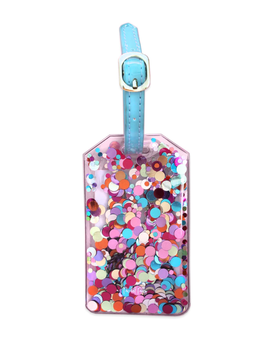 Pack It Up Confetti Luggage Tag - Pharm Favorites by Economy Pharmacy