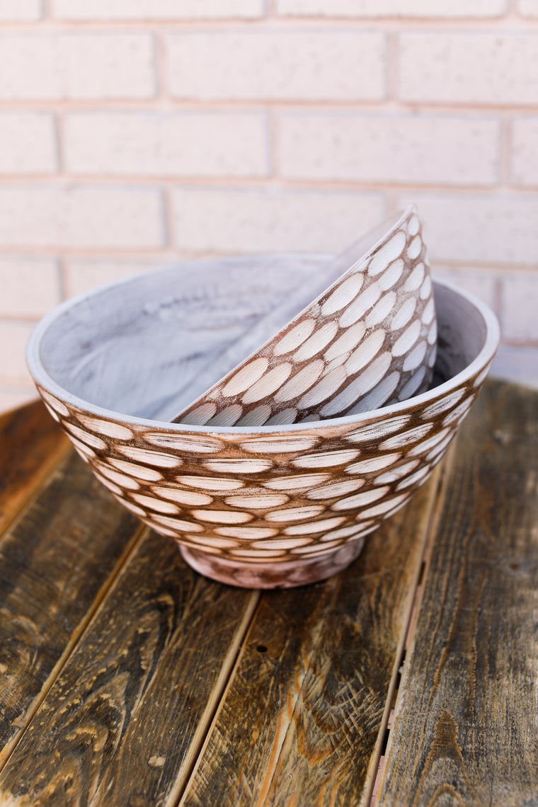 Wooden White Wash Bowl Set
