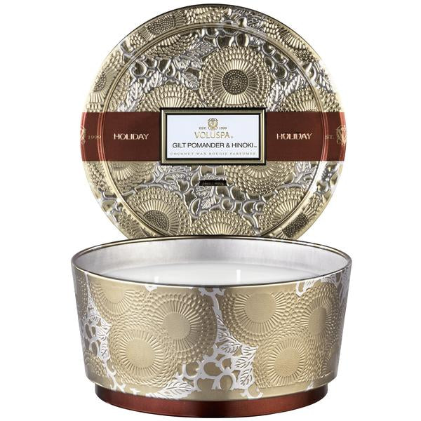 Gilt Pomander & Hinoki Holiday 3 Wick Pedestal Tin - Pharm Favorites by Economy Pharmacy