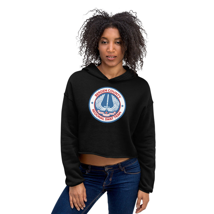 BERGEN COUNTY AMERICAN BLUE WOMEN'S CROP HOODIE