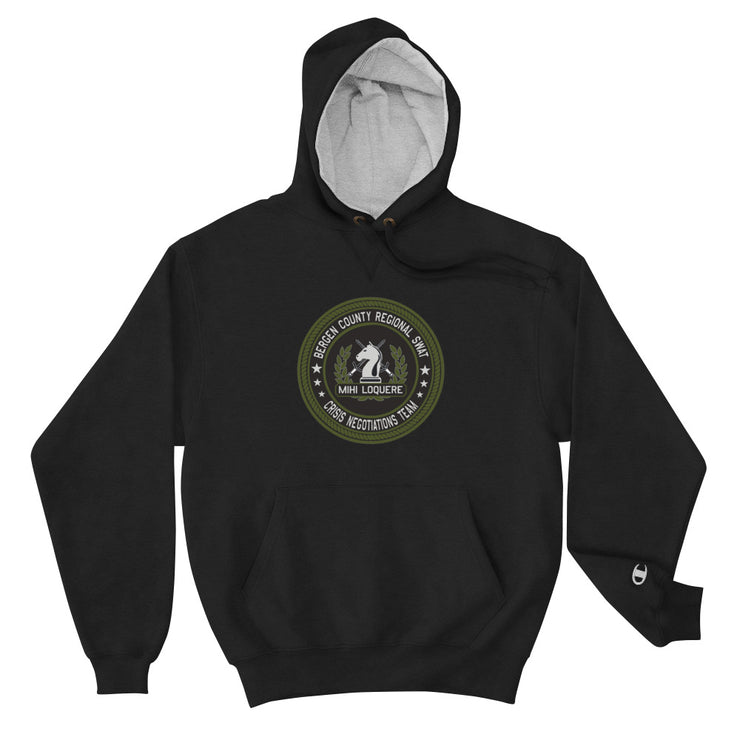 BERGEN COUNTY NEGOTIATIONS TEAM GREEN LOGO CHAMPION HOODIE