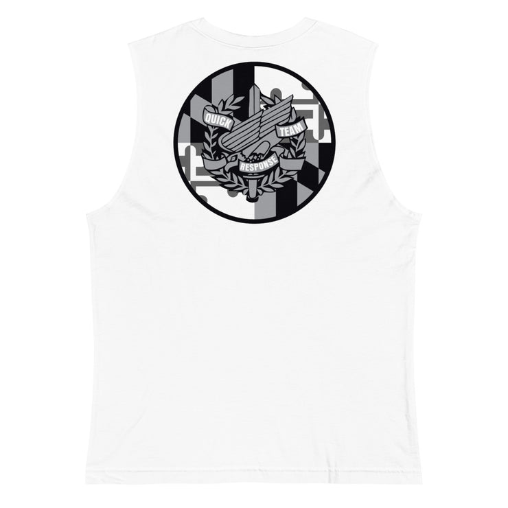 ANNE ARUNDEL LEFT CHEST AND BACK LOGO MUSCLE TANK