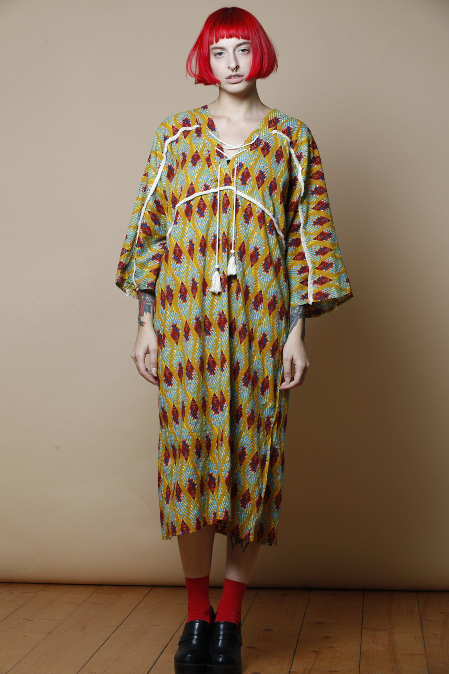 Geometric Long Kimono Dress