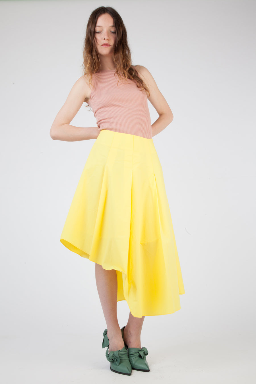 asymmetrical yellow skirt