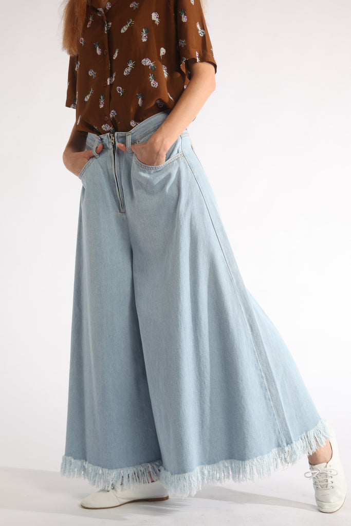 wide leg fringe denim