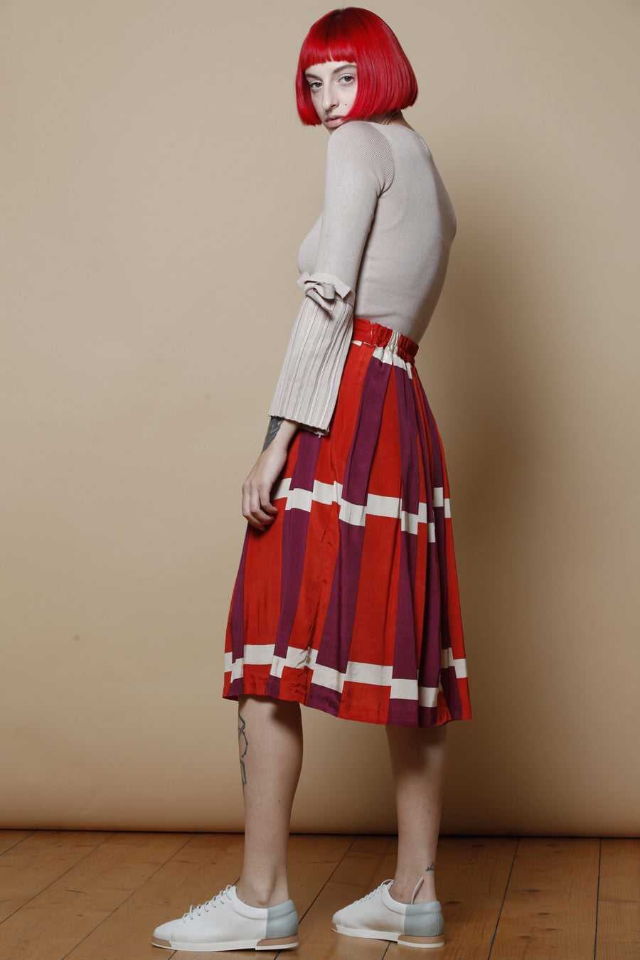 Geometric Pleated skirt
