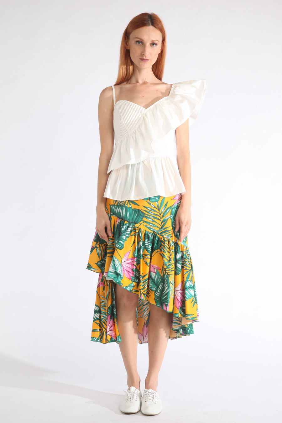 unbalanced frill skirt