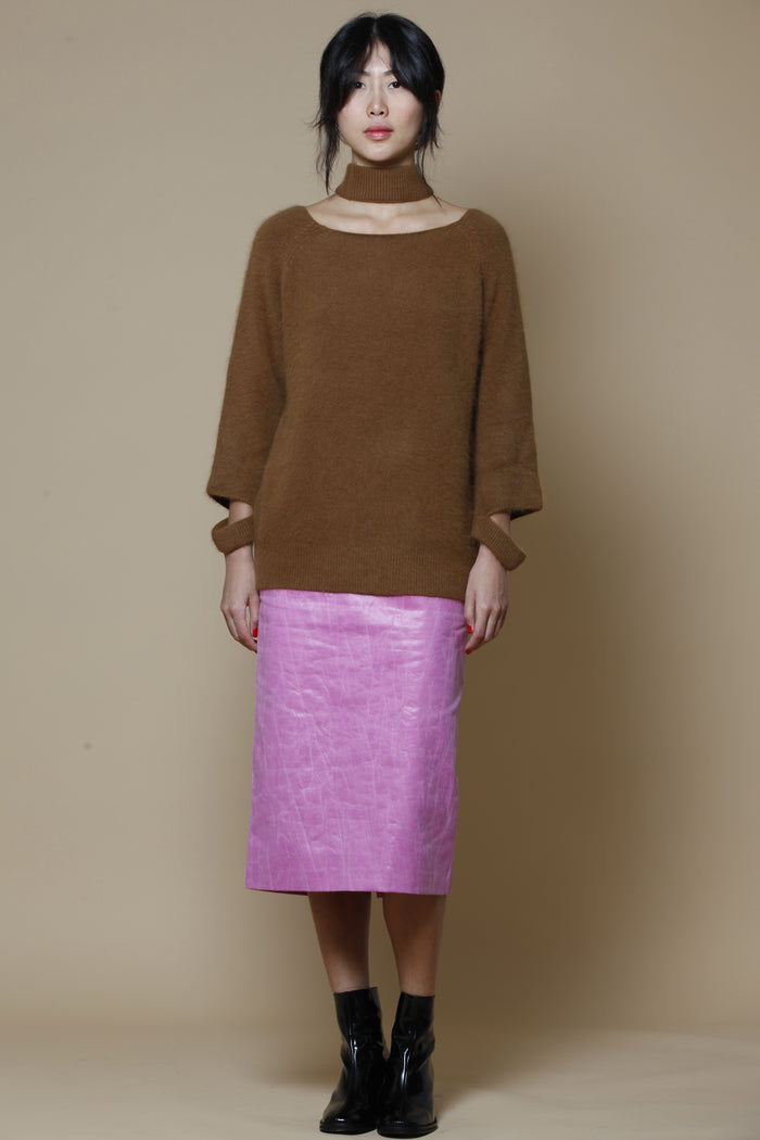 synthetic pink skirt