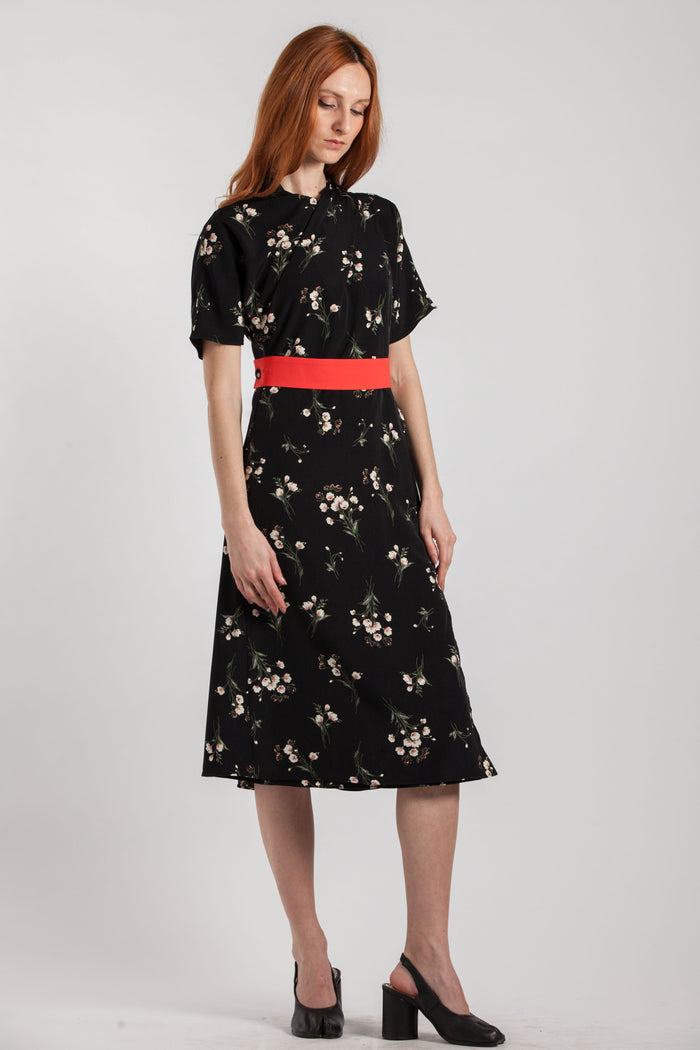 Red Belted Floral Print Dress - Via Ennji Online Store